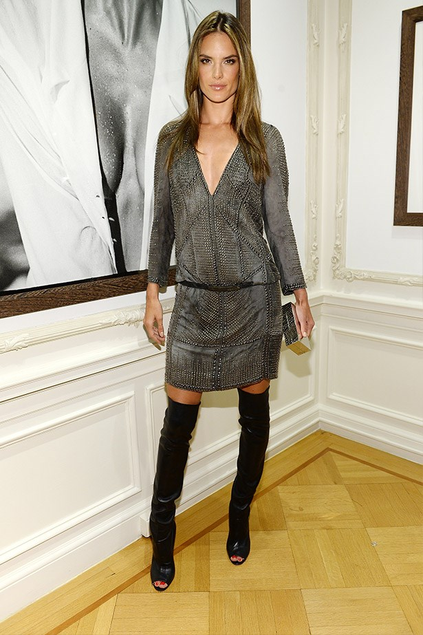 Alessandra's style staples? Mini-dresses and over-the-knee boots are on high rotation in this Angel's wardrobe.