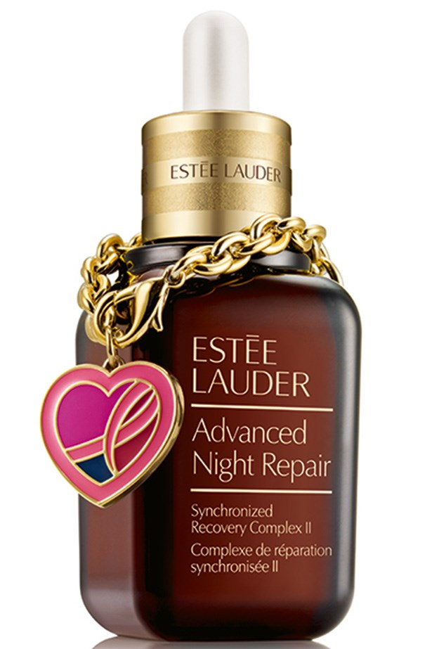 """Advanced Night Repair Synchronized Recovery Complex II Pink Ribbon Bracelet Edition, $140 for 50ml, Estée Lauder, <a href=""""http://esteelauder.com.au"""">esteelauder.com.au</a> Estée Lauder's cult classic serum fights wrinkles and uneven skin tone as you sleep. This year, the heart-shaped charm features a touch of blue to represent the 1 per cent of male breast cancer sufferers."""