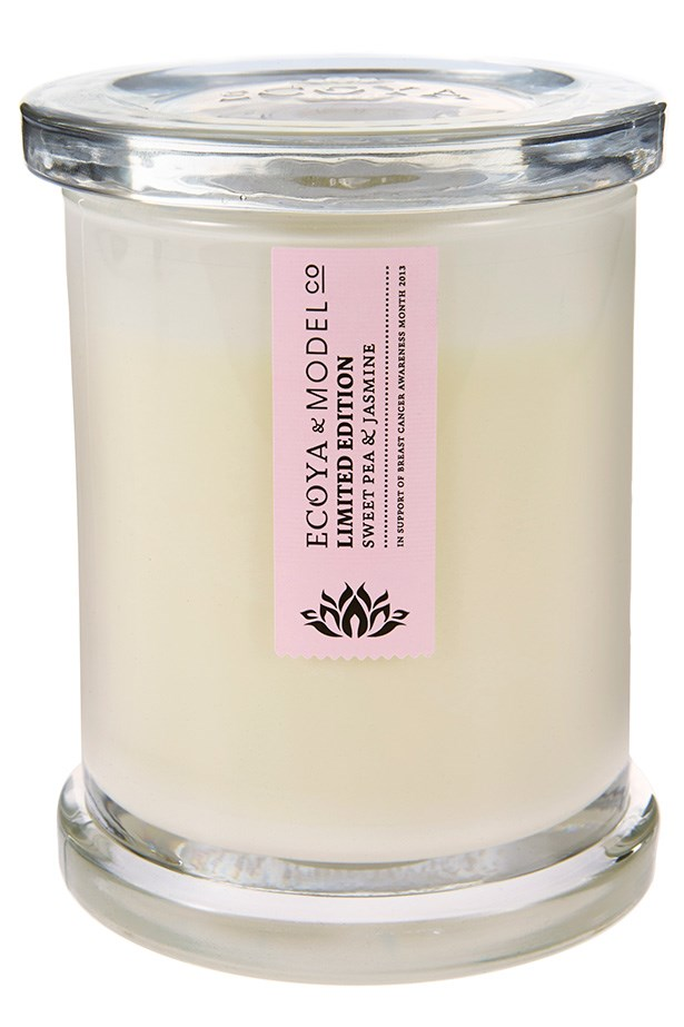 """Limited Edition Sweet Pea & Jasmine Candle, $29.95, ModelCo and Ecoya, <a href=""""http://modelcocosmetics.com"""">modelcocosmetics.com</a> or <a href=""""http://ecoya.com"""">ecoya.com</a>. Two of Australia's beauty megabrands, ModelCo and Ecoya, have joined forces to donate the full price of the candle to the National Breast Cancer Foundation. Light a flame for the special women in your life."""