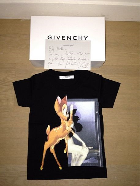 """Baby North - you are a beauty. This is a first step towards dressing you. Your first couture! Love, Riccardo"" - considering Kim and Kanye's long-standing friendship with Givenchy head honcho Riccardo Tisci (he created the floral number Kim wore at this year's MET Gala and the couple sat front-row at his Paris Fashion Week show), his generous gift comes as no surprise."