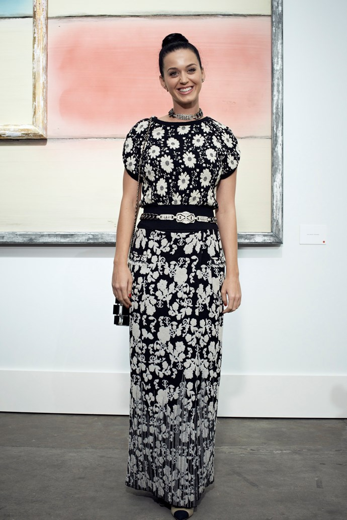 Katy Perry opted for a Chanel print-clash