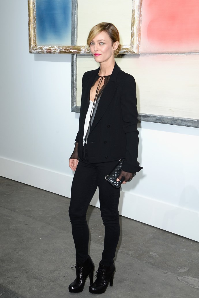 Vanessa Paradis opted for simple, masculine tailoring