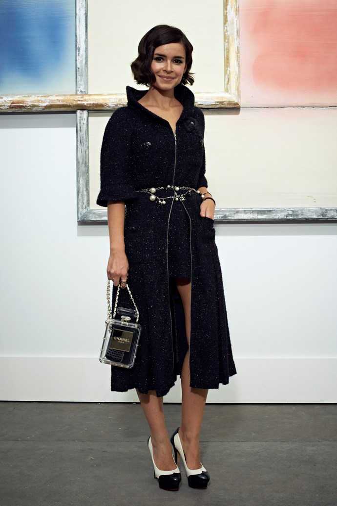 Miroslava Duma's covetable Chanel No. 5 clutch