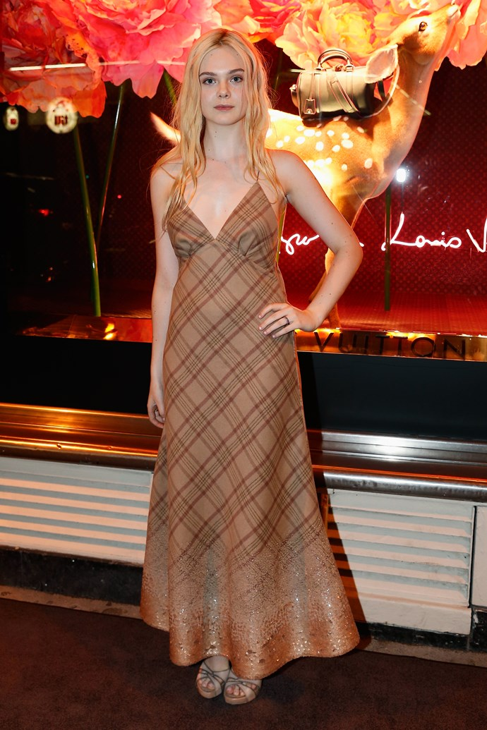 Elle Fanning in plaid Louis Vuitton