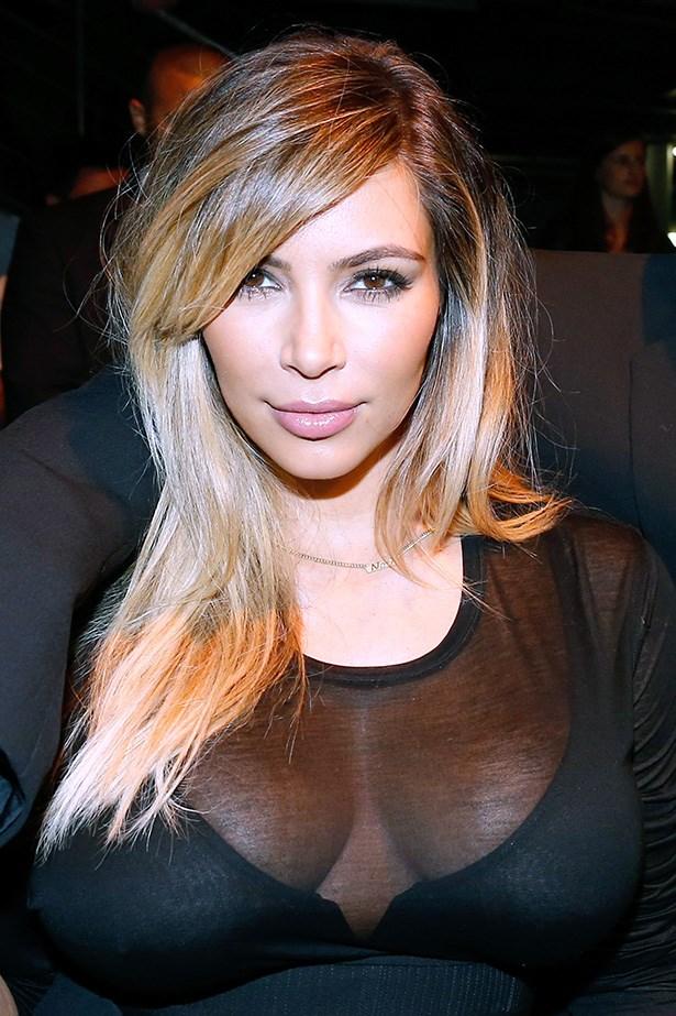 Kim Kardashian with blonde highlights