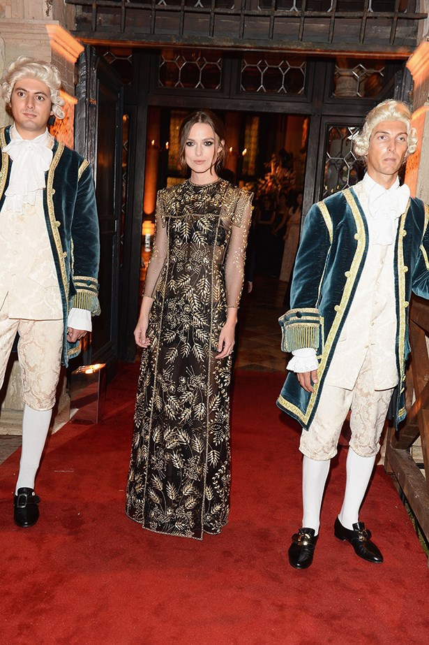 Keira Knightley was the golden girl at the Valentino Ball, held at Palazzo Volpi during the Venice Film Festival. The actress wore a gilded-leaf gown from the designer's autumn/winter 13-14 collection.