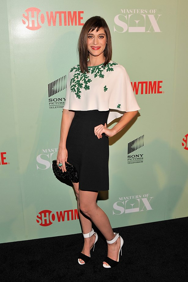 Lizzy Caplan looked prim wearing an Andrew Gn look at the Masters Of Sex premiere in New York.  If this trend hasn't grown on you yet (pun intended), surely this embroidered mistletoe print will push you over the line, yes?