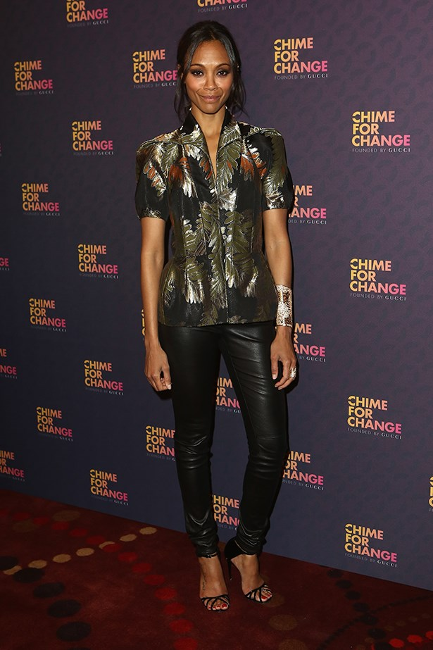 Wearing a <em>so-fashion</em> take on a Hawaiian shirt, Zoe Saldana flaunted a Gucci autumn/winter 13-14 fern-print at the <em>Chime For Change: The Sound Of Change Live</em> concert, in London.