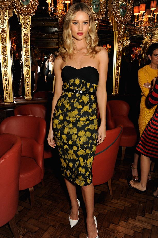 Proving that the leaf print can pack as much of a colourful punch as its floral sister, Rosie Huntington-Whiteley wore a Michael Kors pre-fall 13 number – to a dinner in the designer's honour.