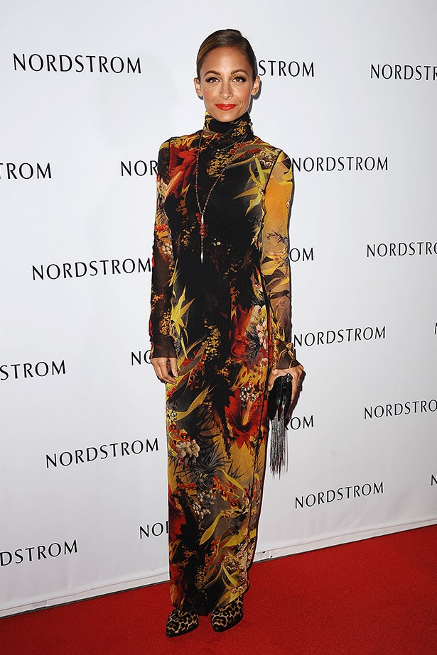 The leaf print goes for baroque in this Jean Paul Gaultier turtleneck dress, worn by Nicole Richie at an event in LA.