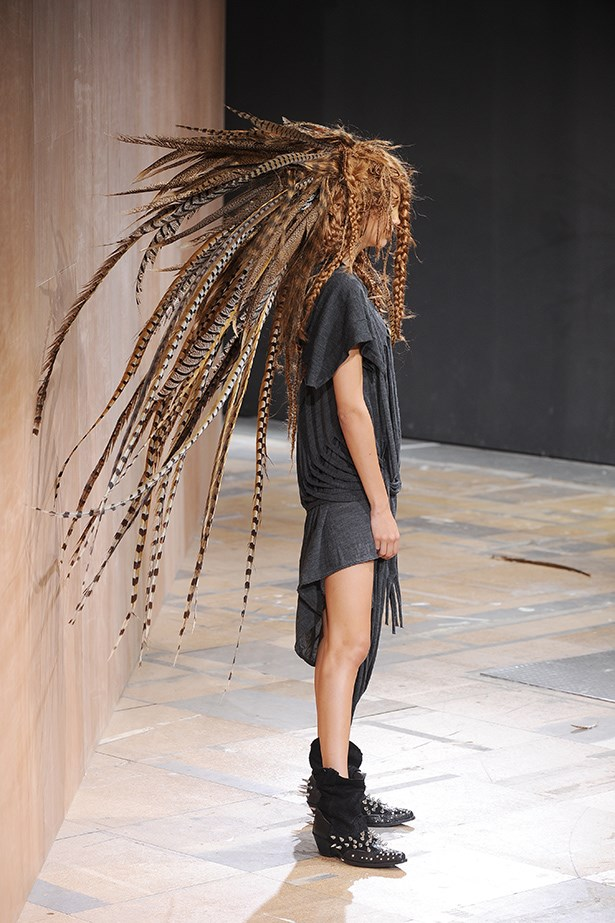 Part hippy, part folksy, part American West; Junya Watanabe's pheasant-feathered collection threatened to take off.