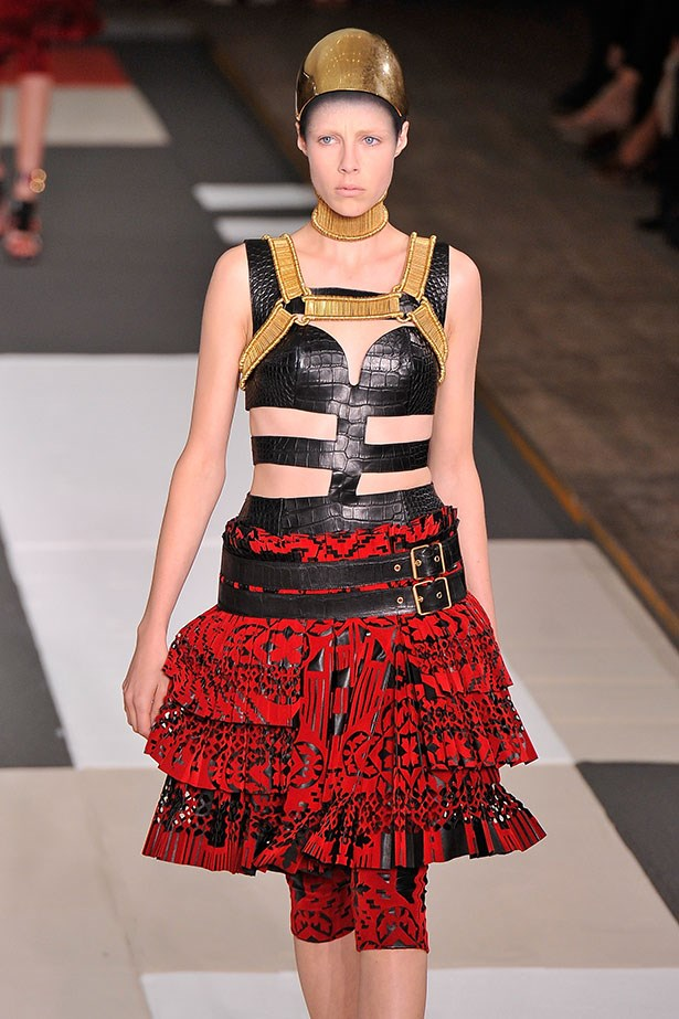 The mad mix of tribal references at Alexander McQueen had more than a touch of fetish about it.