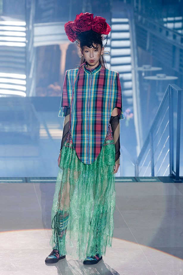 Vivienne Westwood is no stranger to a way-out fashion statement. Frida Kahlo-esque flowers, green lace and plaid weirdly just works in her world.