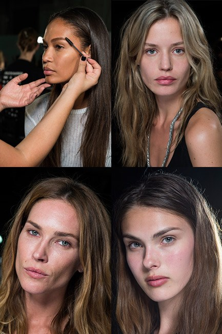 <b><u>Alexander Wang</u><br> The look:</b> The eyebrows wowed.<br> <b>No makeup makeup kit: </b>Brow gel, moisturiser and lip blam.<br> <b>How-to:</b> Makeup artist Diane Kendal massaged Nars Skin Aqua Gel Luminous Oil-Free Moisturizer into the girls' faces for a healthy glow. A dab of concealer, a touch of lip balm and a healthy dose of brow gel were all applied. The trick to making the brows the centrepiece was to brush them upwards and outwards for maximum thickness and a polished finish.