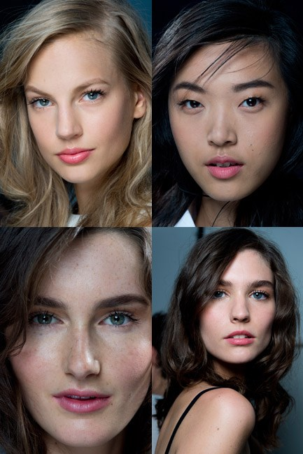 <u><b>Thakoon<br></u> The look: </b>Made eyes with long and luscious lashes.<br> <b>No makeup makeup kit: </b>Mascara, foundation and lip gloss.<br> <b>How-to:</b> To ensure that no one gets suspicious when you tell them you're wearing no face pain, make like makeup artist Diane Kendal and apply a generous amount of mascara – in this case NARS Larger Than Life Volumizing Mascara – to the top lashes only, leaving the bottom row bare. A glowy Nars Sheer Glow Foundation base did the trick for au naturel face, and a swipe of Nars Laos Matte Multiple on the pout finished the look.