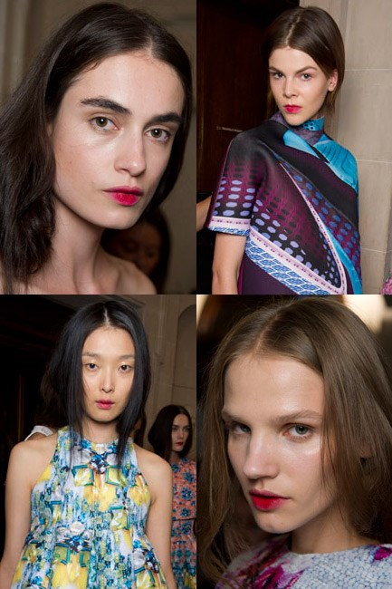<u><b>Mary Katrantzou </u><br> The look: </b>A bitten lip. <br> <b>No makeup makeup kit: </b>Lip stain, mineral foundation and eye gloss. <br> <b>How-to: </b>Makeup artist Val Garland used M.A.C's brand new lip stains in Ruby Woo and Lady Danger to create a subtle and matte berry lip. When it came to the complexion, it was anything but. M.A.C Mineralize Foundation was applied to the skin and a clear gloss was swiped over eyelids.
