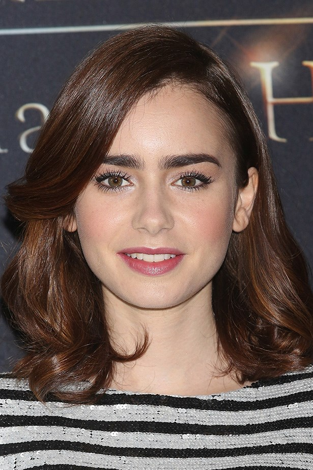 Lily Collins' filled-in brows make us want to dye ours a shade darker.