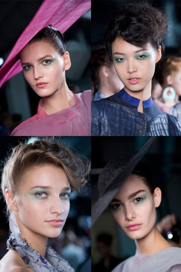 "<p><strong>The show</strong>: Giorgio Armani</p> <p><strong>The headgear</strong>: ""Mortar-board"" (read: graduation-style) hat that sits to the side of your head.</p> <p><strong>The 'do</strong>: An up-do of voluminous curls pinned swept to the side and pinned closely to the scalp making room for the oversized headdress.</p>"