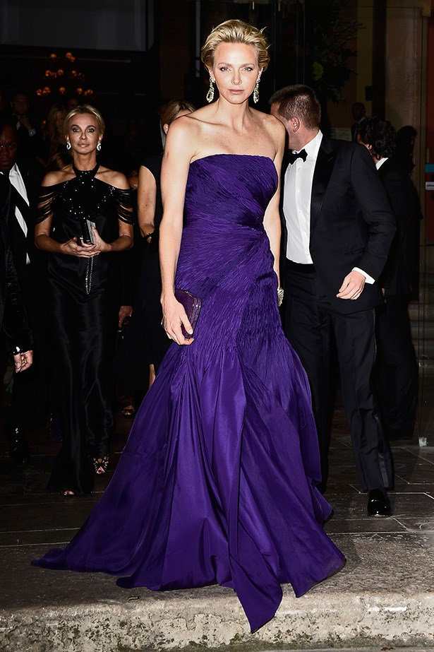 H.S.H. The Princess Charlene of Monaco in Ralph Lauren Collection custom amethyst silk taffeta evening dress with organza and organdy silk layers