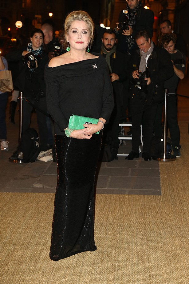 Catherine Deneuve in Ralph Lauren Collection beaded evening skirt and cashmere top