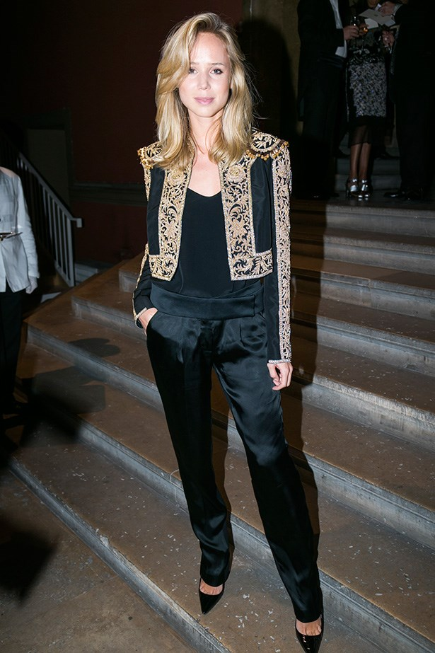 Elin Kling in Ralph Lauren Collection black silk faille embroidered jacket