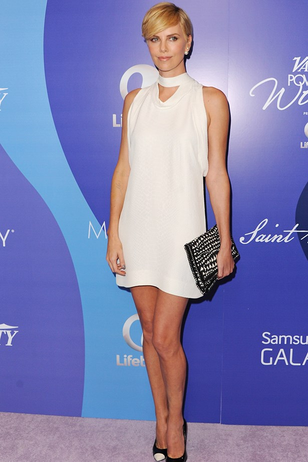 Charlize Theron proves Stella McCartney is the go-to designer for a chalky white look.
