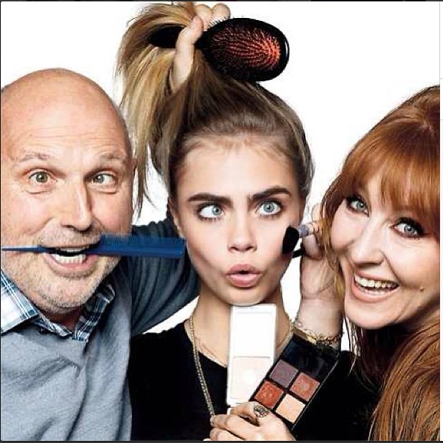 A rose between hairstylist Sam McKnight and make-up artist Charlotte Tilbury. Image: instagram @caradelevingne