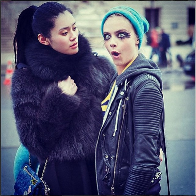 Pulling funny faces outside the shows at fashion week. Image: instagram @caradelevingne