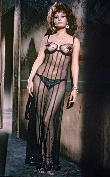 Sophia Loren's night gown in <em>Marriage, Italian Style</em> – The cinematic lingerie canon is stuffed with Sophia Loren looks, but if we could only pick one delicate from all her many roles, it would have to be the sheer-save-for-strategic-stars, floor-length nightie she wears in <em>Marriage, Italian Style</em>. With high heels, of course.