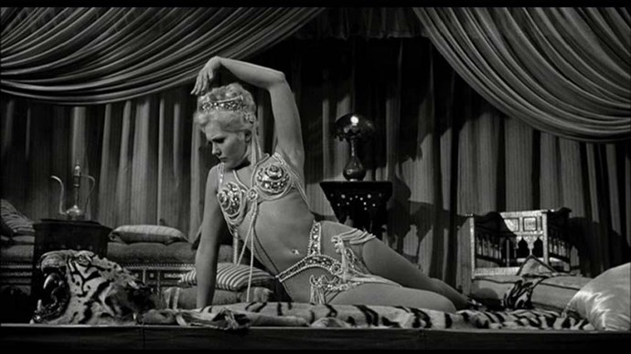 Kim Novak's 'show dress' in <em>Jeanne Eagels </em>– The real life Jeanne Eagels died tragically young, but at least she went to the grave knowing what it felt like to dance in a dress made of pearls. Kim Novak did a pretty great homage to it, too.