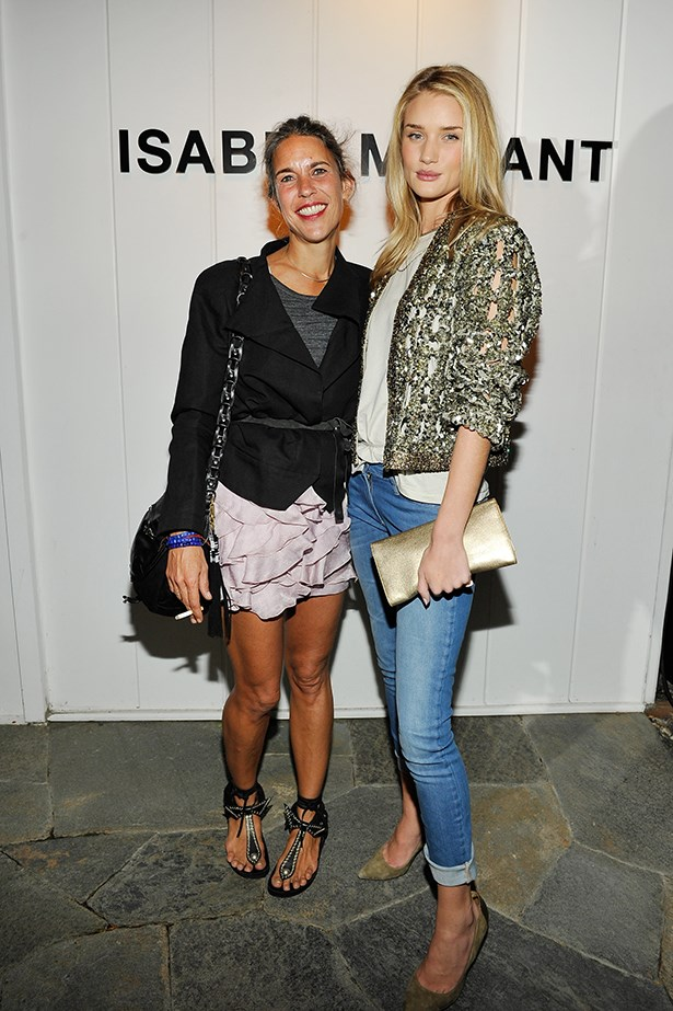 "Isabel Marant and Rosie Huntington-Whiteley who recently said the designer was ""perfect for the on-the-go girl because you can mix her pieces with high fashion or high street."""