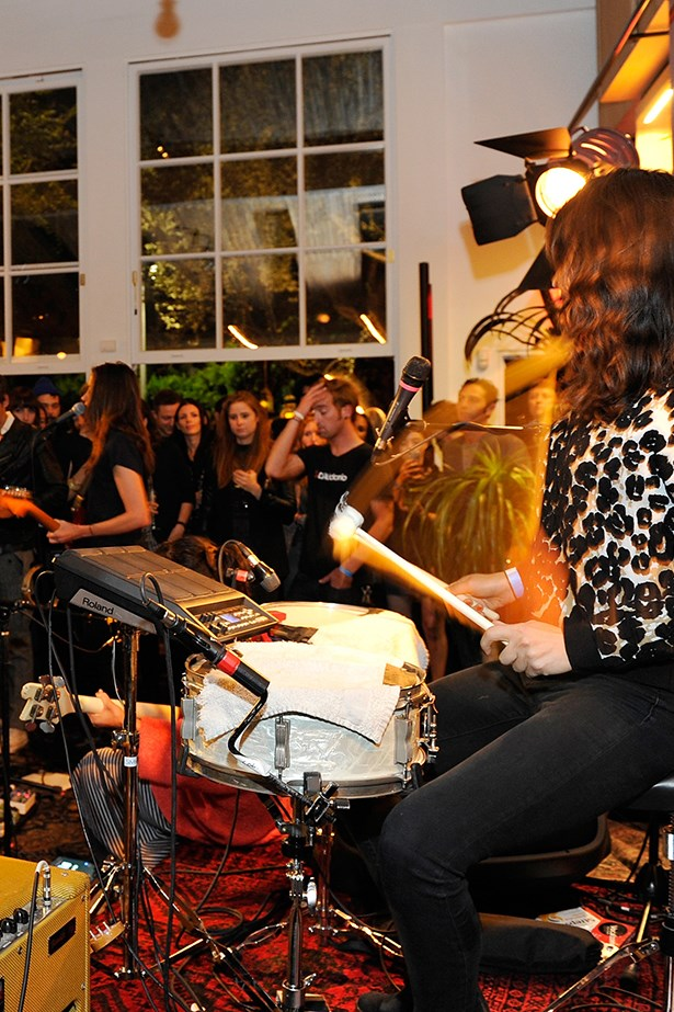 Musicians performing during the party.
