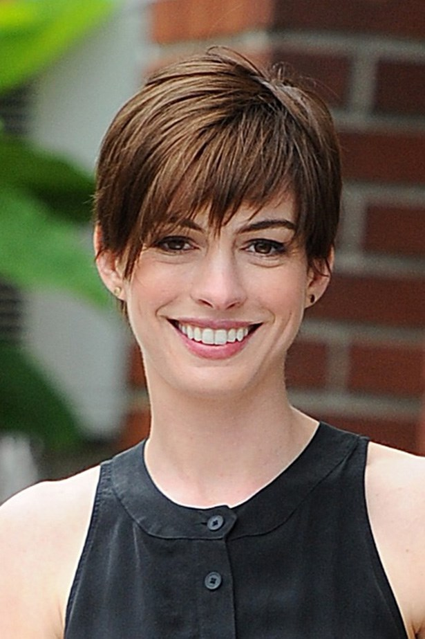 Anne Hathaway's versatile pixie cut can be brushed forward or slicked back.