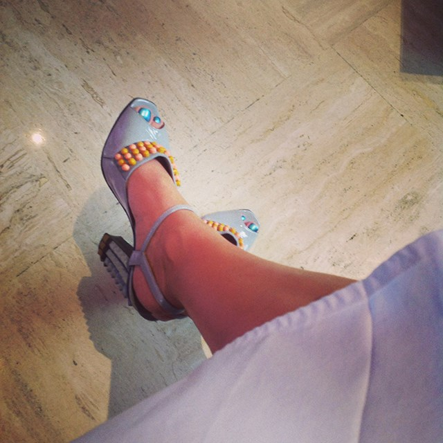 <p><strong>New York</strong></p> <p>Fendi shoes teamed with a pearlescent teal pedi. </p>
