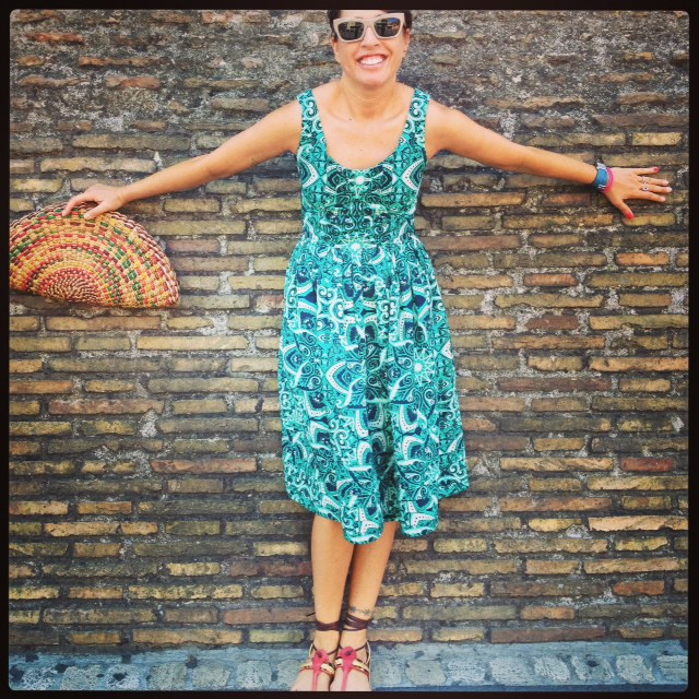A warmer sunny day in Milan wearing my favourite Jonathan Saunders dress.
