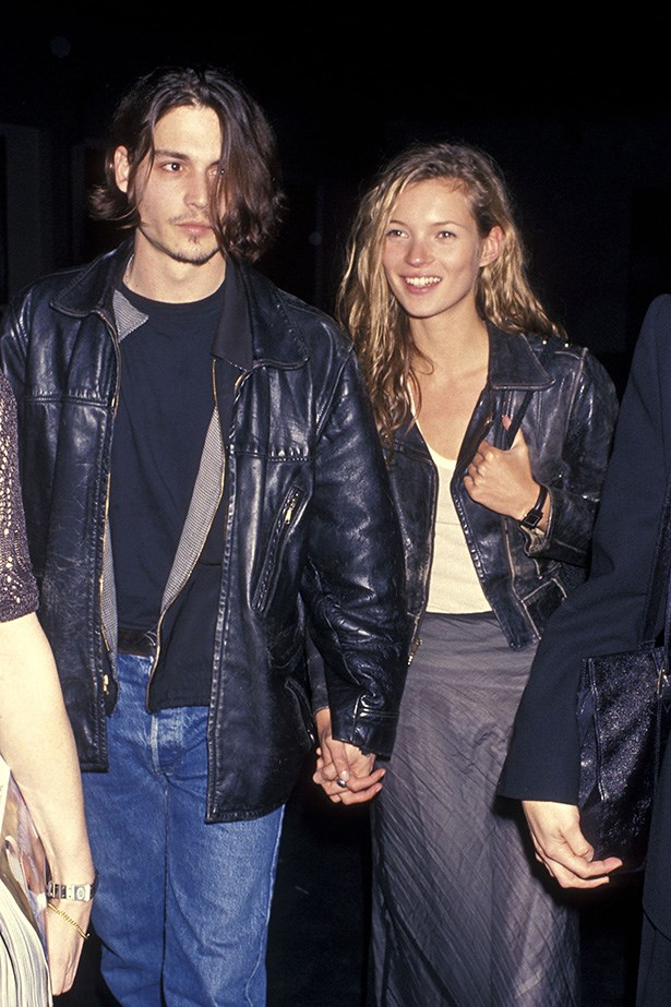 <strong>1994 </strong><br> Johnny Depp and Kate Moss at the screening of Depp's short film <em>Banter</em>.