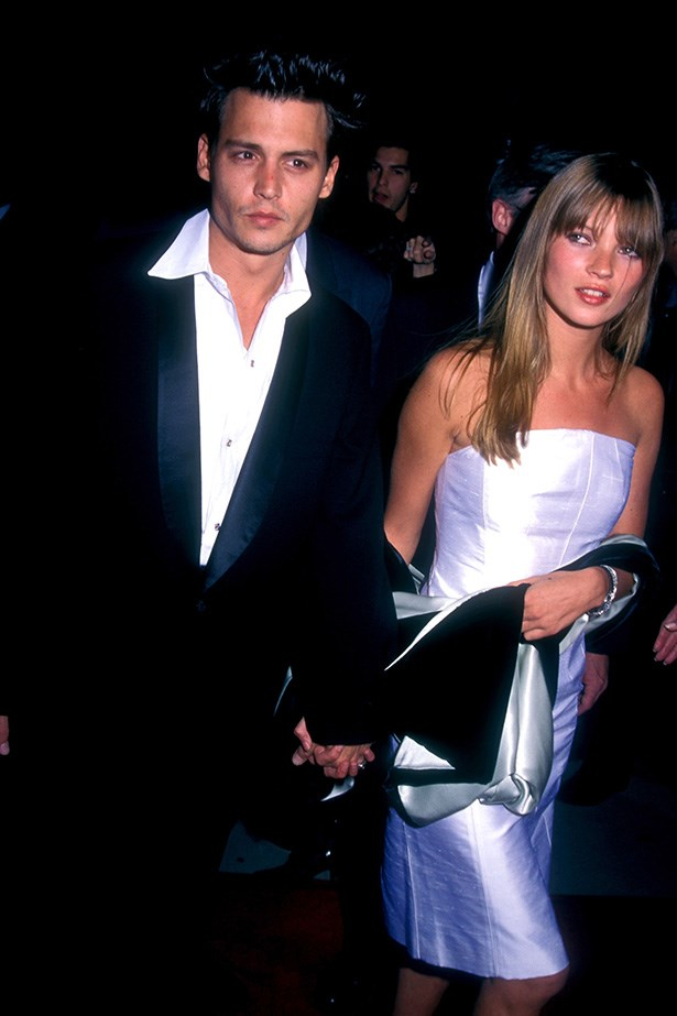 <strong>1995 </strong><br> A sharp-suited Johnny Depp and Kate Moss wearing a strapless pearlescent dress teamed with a poker-straight hairstyle at Don Juan De Marco Beverly Hills premiere.