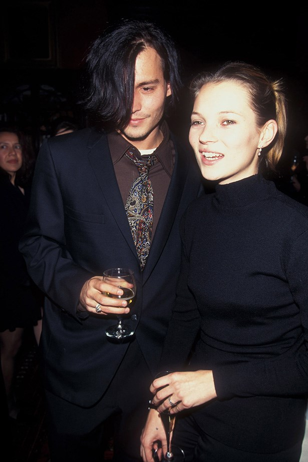 <strong>1996 </strong><br> Moss and Depp at the <em>Fear Of Loathing In Las Vegas</em> 25th anniversary party.