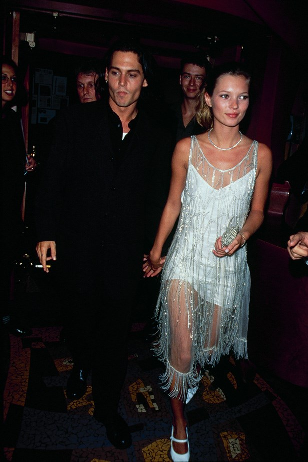 <strong>1998 </strong><br> Depp and Moss out in New York. Kate looking stunning in a flapper-style white dress.