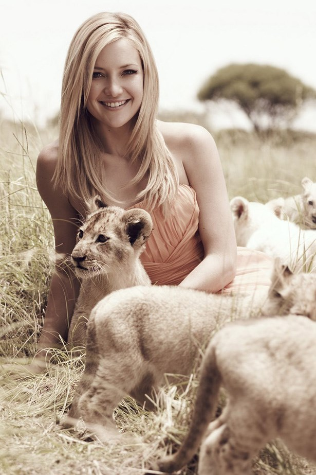 Kate Hudson got to play and pose with lion cubs for this campaign shoot in Africa to support WildAid, and collaborated on a range of haircare products with David Babaii.