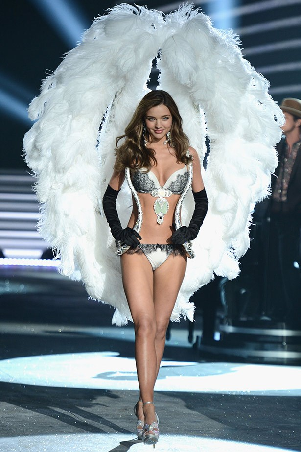 Kerr looked seriously angelic in the biggest (and heaviest, we're sure!) pair of angel wings she's ever worn at the 2012 Victoria's Secret show