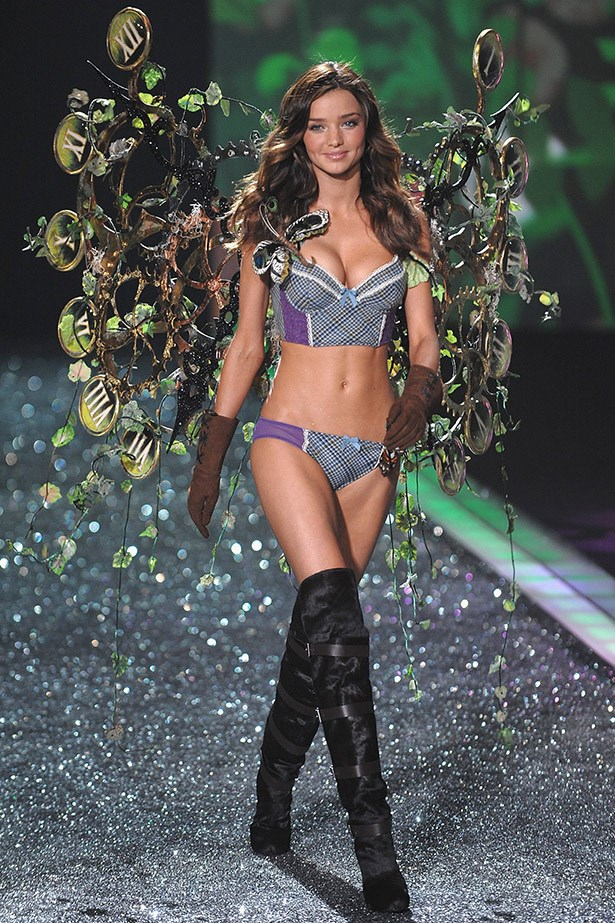 The Wheels of Time: Kerr strutted her stuff in ivy-covered clock wings on the 2009 Victoria's Secret runway