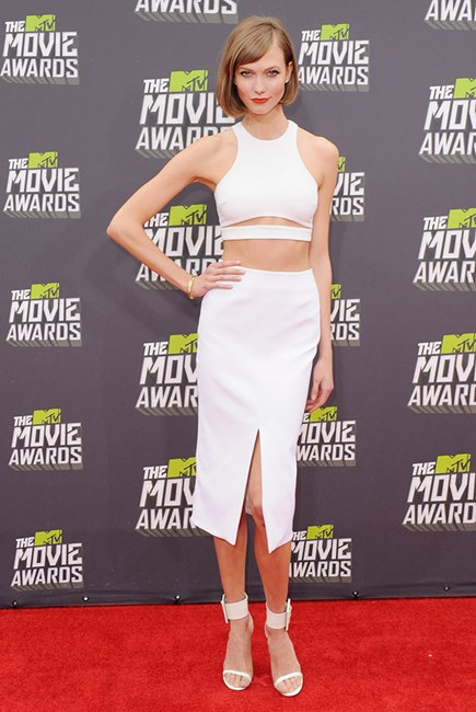 At the 2013 MTV Movie Awards in April, wearing Cushnie et Ochs.