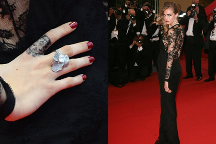 <strong>Cara Delevingne</strong><br> <strong>Age</strong>: 21<br> <strong>Agency</strong>: Storm Models<br> <strong>Tattoos</strong>: The It girl recently become a tattoo enthusiast, collecting over five of them in a matter of months. We can barely keep up with her collection but the lion on her index finger marked the start of her love affair with ink. <br> <strong>What you didn't know about her tattoos</strong>: Delevingne has a Southern Cross tattoo – just like patriotic Aussies.