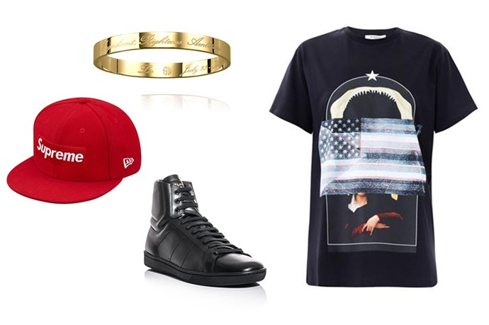 "<p>Hat, $58, Supreme, <a href=""http://www.supremenewyork.com/shop/hats/h1/red"">supremenewyork.com</a></p> <p>Shirt, $560, Givenchy, <a href=""http://www.matchesfashion.com/product/164549"">matchesfashion.com</a></p> <p>Bangles, $99, Samantha Wills, <a href=""http://www.samanthawills.com/detail/anchor-bangle-rose"">samanthawills.com</a></p> <p>Sneakers, $545, Saint Laurent, <a href=""http://www.matchesfashion.com/product/142210"">matchesfashion.com</a></p>"