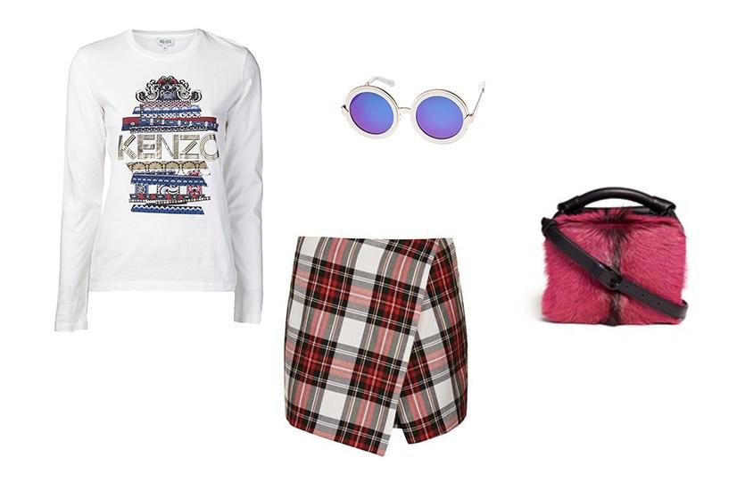 "<p>Sunglasses, $349, Karen Walker,<a href=""http://www.karenwalker.com/Peek-A-Boo-White-Gold-P1913.aspx""> karenwalker.com</a></p> <p>Skorts, $56, Topshop, <a href=""http://www.topshop.com/en/tsuk/product/clothing-427/shorts-448/white-tartan-assymetric-skorts-2353111?bi=1&ps=20"">topshop.com</a></p> <p>Bag, $1005, Phillip Lim, <a href=""http://www.lanecrawford.com/product/3.1-phillip-lim/-ryder-small-zip-cross-body-bag/_/BAE136/product.lc"">lanecrawford.com</a></p> <p>Top, $211, Kenzo, <a href=""http://http://www.farfetch.com/shopping/women/kenzo-eye-t-shirt-item-10496416.aspx "">farfetch.com</a></p>"