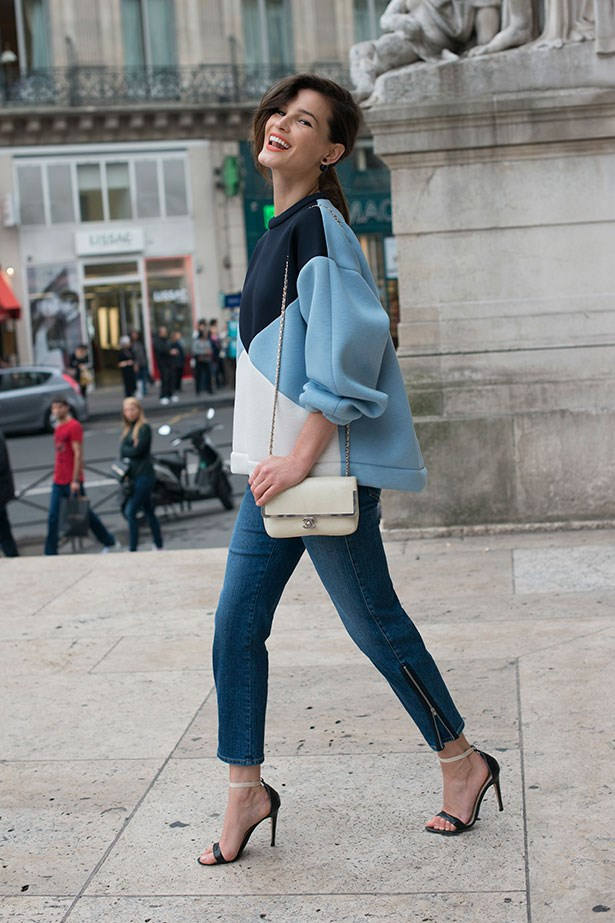 Hanneli Mustaparta wearing Stella McCartney jeans in Paris
