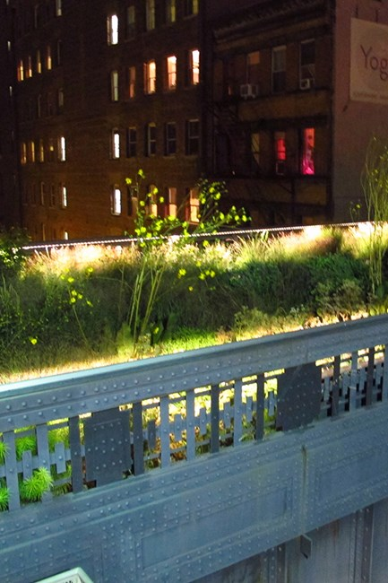The High Line is our favourite place to stroll, run or just sit on a park bench. It's especially beautiful at night time.