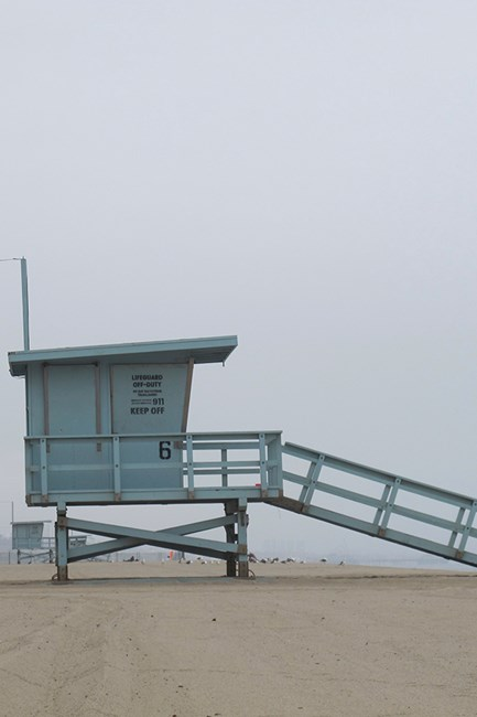 The iconic lifeguard towers.