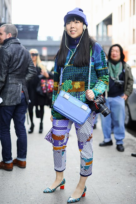 Street-style star, Susie Bubble makes a bold statement in her Kenzo prints. More is more!